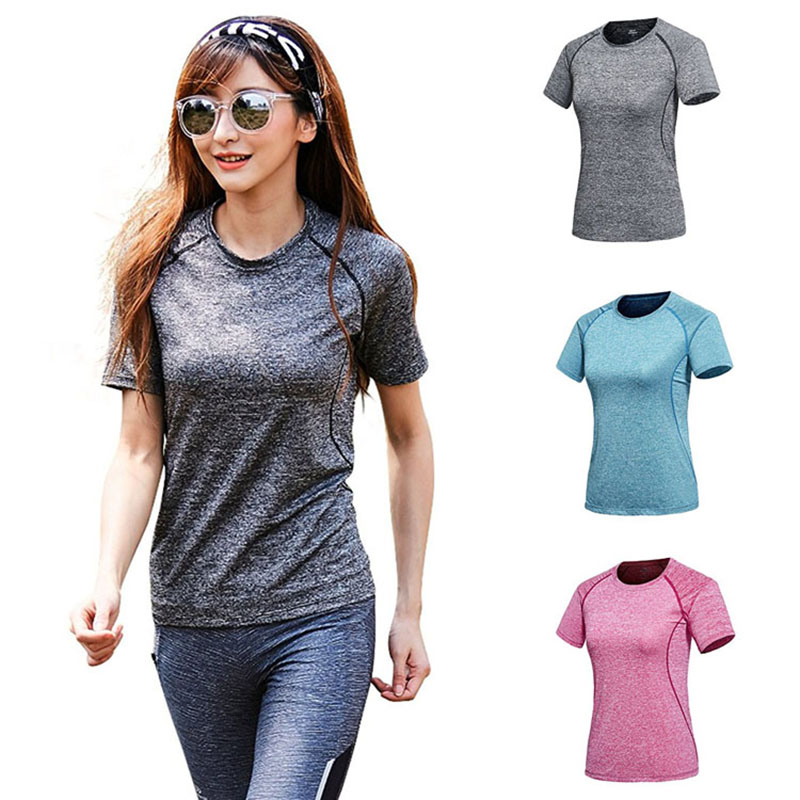Professional Women Yoga Shirts Tops Sports Fitness Running T Shirt Gym Quick Dry Sweat Short Sleeve Womens Clothes Tees Tops