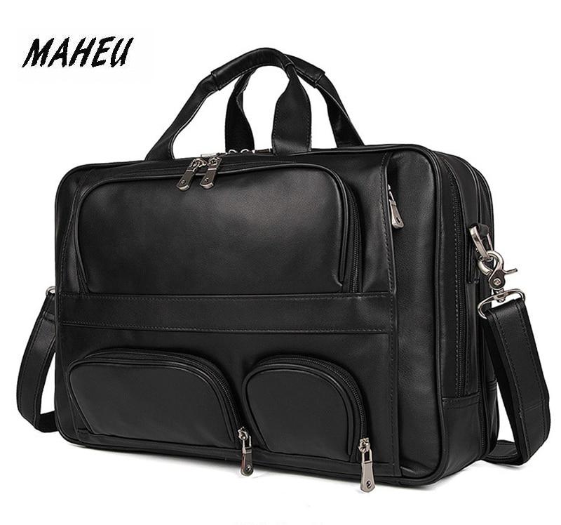 MAHEU Black Men's Leather Briefcase Travel Laptop Bags Handle Official Business Bags On Wheel Mens Tote Handbag Shoulder Bag 17