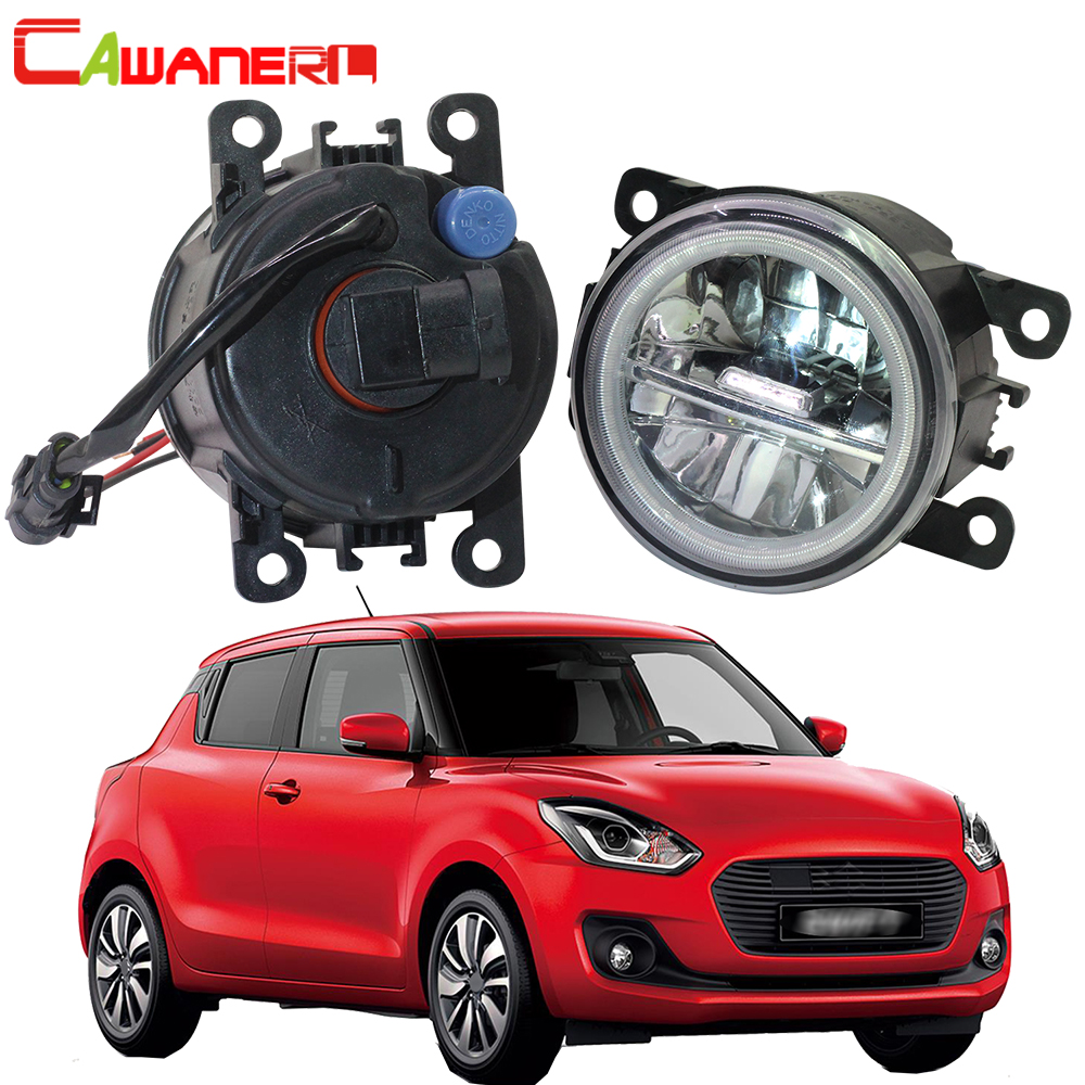 Cawanerl 2 Pieces Car Styling 4000LM LED Lamp H11 Fog Light Angel Eye DRL 12V For