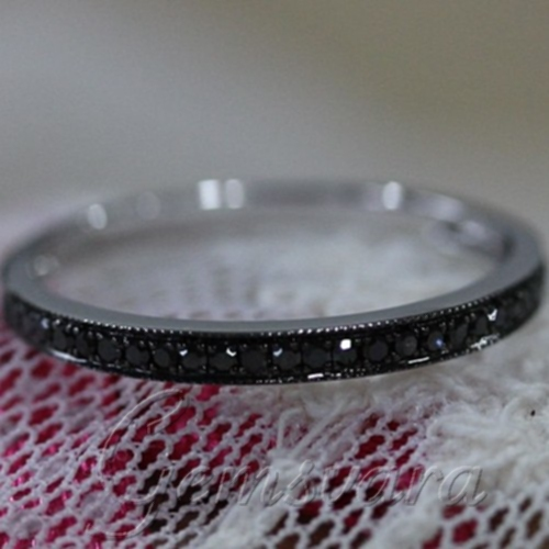 9a931a4b1caa2a Half Eternity Band Milgrain Pave Black Diamond Solid 14K White Gold Wedding  Band Engagement Ring Promise Ring Gift