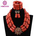 Chunky Women Wedding Accessories Gold Plated Jewelry Set Orange Traditional African Coral Beads Jewelry Set Free Shipping ABL162