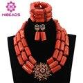 Mulheres acessórios do casamento banhado a ouro jóias conjunto robusto orange abl162 tradicionais africanos miçangas coral set jóias frete grátis