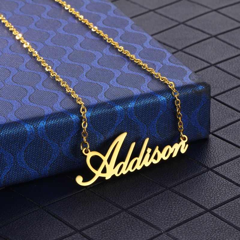 Custom Name Necklace Pendant Gold Color Letter Stainless Steel Customized Gift for Women Girls Charms Jewelry Mothers Day Gift