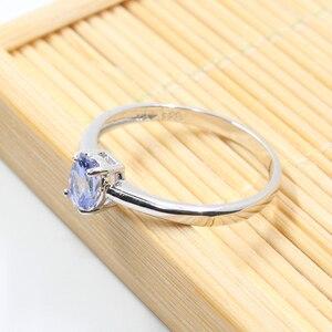 Image 3 - Hotsale gümüş tanzanite yüzük 4 mm * 6 mm gerçek tanzanite yüzük nişan için katı 925 gümüş tanzanite yüzük romantik hediye