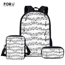 FORUDESIGNS Women Men Backpacks Music Note Printed School Ba