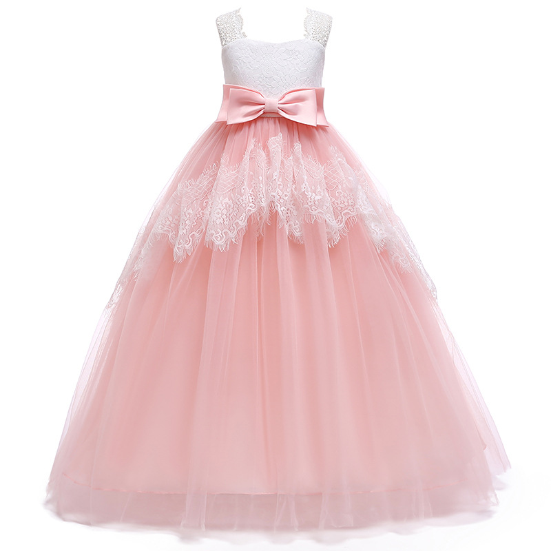 Pink Lace Long Ball Gown Princess Dress for Girls Kids Sleeveless Tulle Birthday Party Dresses Children Wedding Clothing BW199Pink Lace Long Ball Gown Princess Dress for Girls Kids Sleeveless Tulle Birthday Party Dresses Children Wedding Clothing BW199
