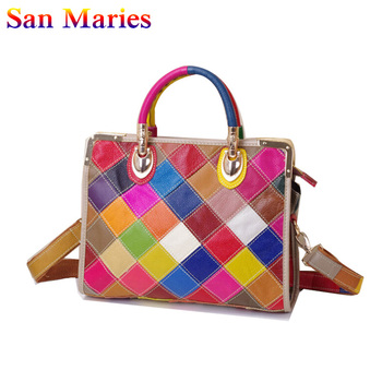 San Maries New Arrival 2019 Genuine Leather Women Handbag Fashion Plaid Patchwork Shoulder Bag Casual Ladies Messenger Bag