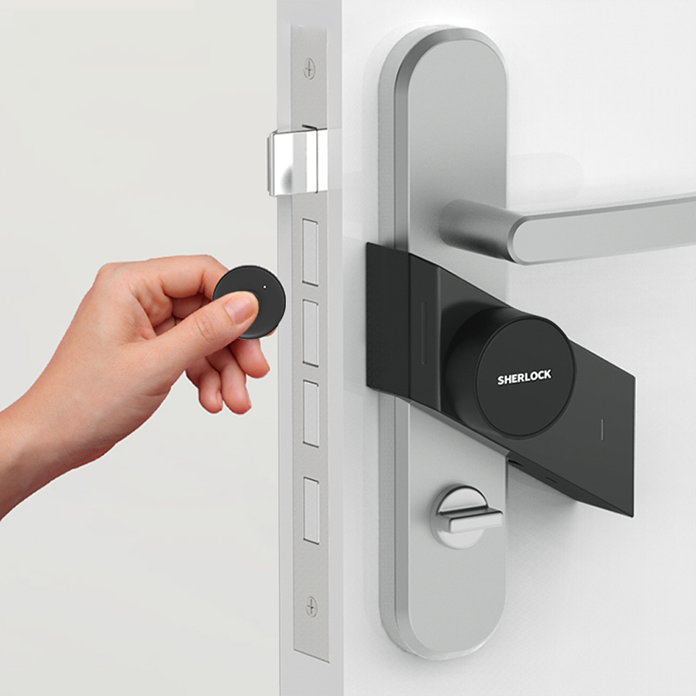 Image 2 - Sherlock S2 Electric Lock Fingerprint+Password Smart Door Lock Add 1Pc Key For Office Glass Door Wireless APP Bluetooth Control-in Electric Lock from Security & Protection