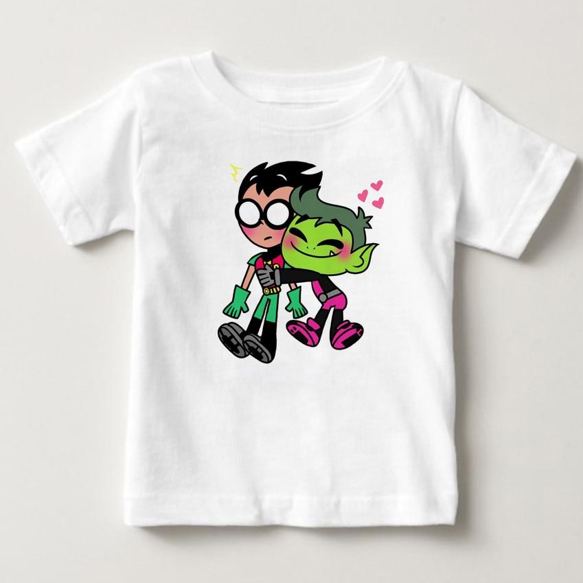 Мальчиков и девочек Teen Titans мультфильм печатных футболка детей большой Повседневное топы с короткими рукавами милая детская футболка футбо...