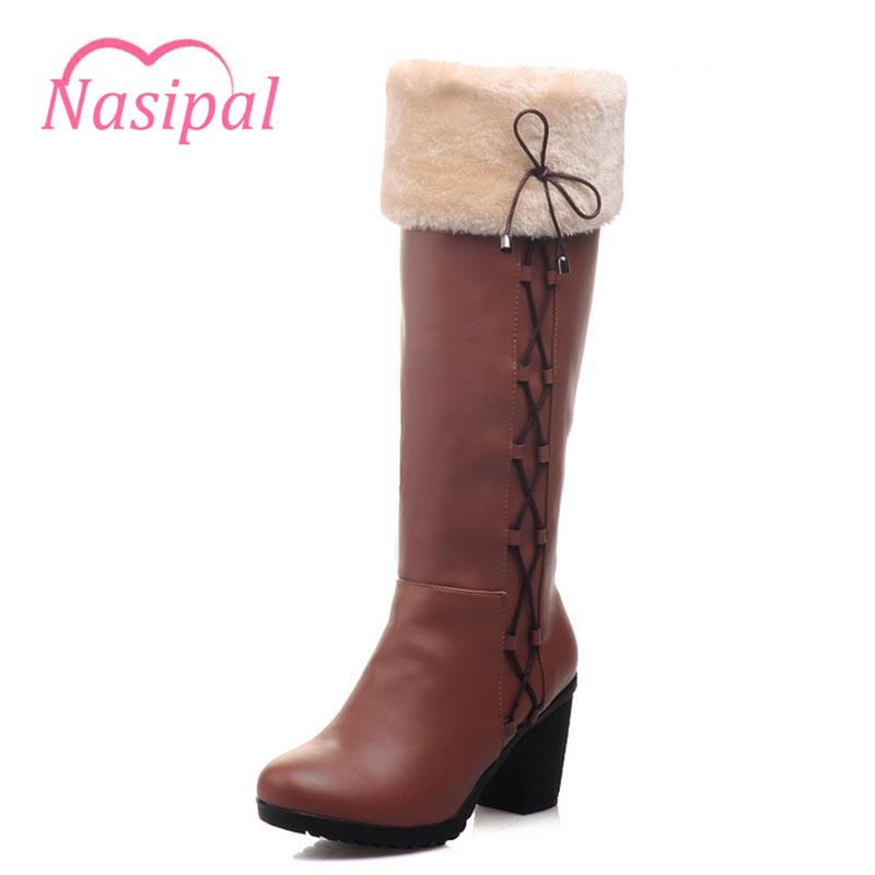 Nasipal Woman Boots All-Match Women Shoes Winter Warm Mid-calf Boots Fashion Lady Thich Heel Shoes Casual Winter Boots C010 double buckle cross straps mid calf boots