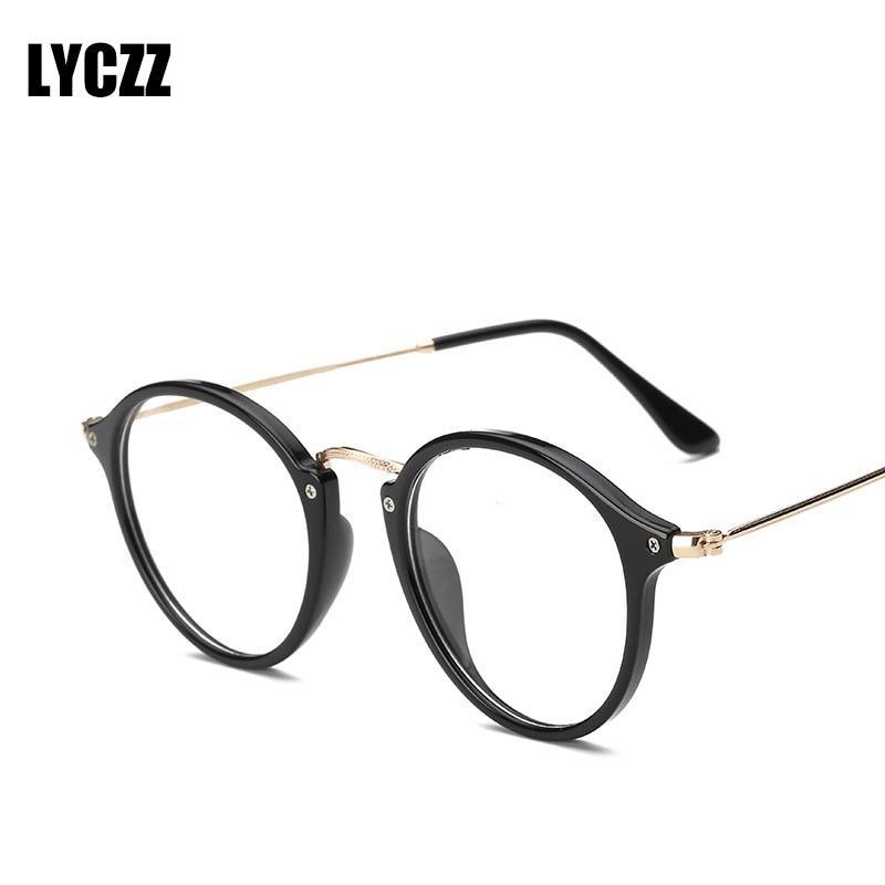 56489290e334b LYCZZ Retro Masculino Feminino Rodada Senhoras Do Vintage Optical Óculos  Frames oculos de grau óculos de