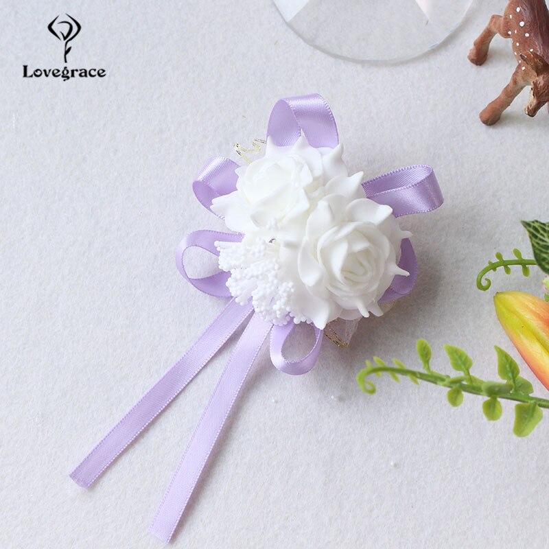 White Foam rose Wedding Wrist Corsage Hand Flowers Boutonniere bridal  (61)