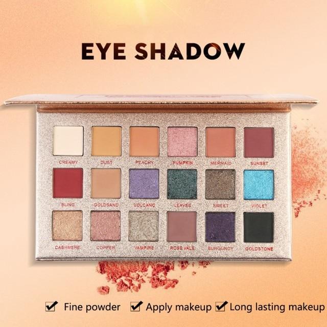 18 colores brillo sombra de ojos polvo mate de larga duración impermeable sombra de ojos maquillaje cosmético