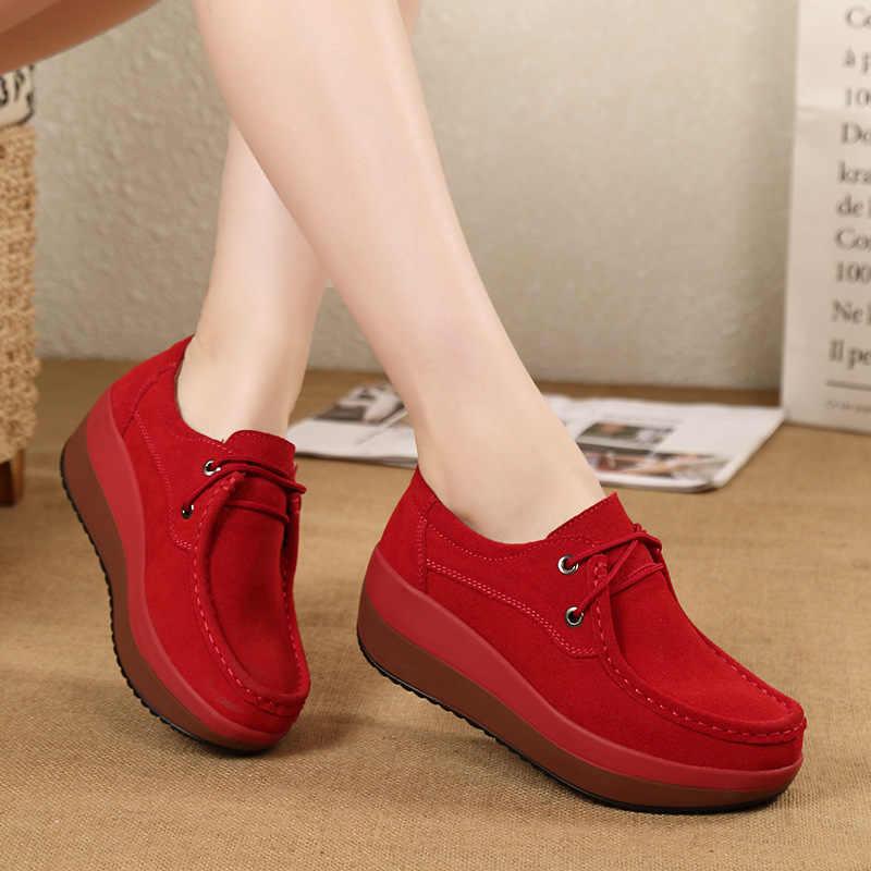 Yeni ilkbahar sonbahar ayakkabılar kadın inek süet deri düz Platform kadın ayakkabı dantel-up kadın mokasen kalın tabanlı kadın ayakkabı