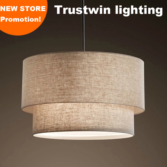 With Double Drum 2 Tier Layer Fabric Linen Shade Hanging Pendant Light Lamp Fixture For Foyer Bedroom Dinning Room