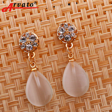 Arvato 2018 new Korean drops Opal earrings Geometrical brown color white transparent pearl minimalist wedding earrings for women