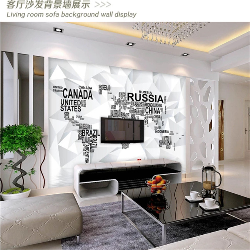Modern Wall Paper 3D Black and White World Map Mural Wallpapers for Living Room Bedroom 3D TV Background Wall Murals Home Decor