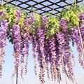 Luyue 12 unids/lote decoración de la boda de seda Artificial Wisteria flores vides colgando de ratán de novia flores guirnalda para casa Hotel