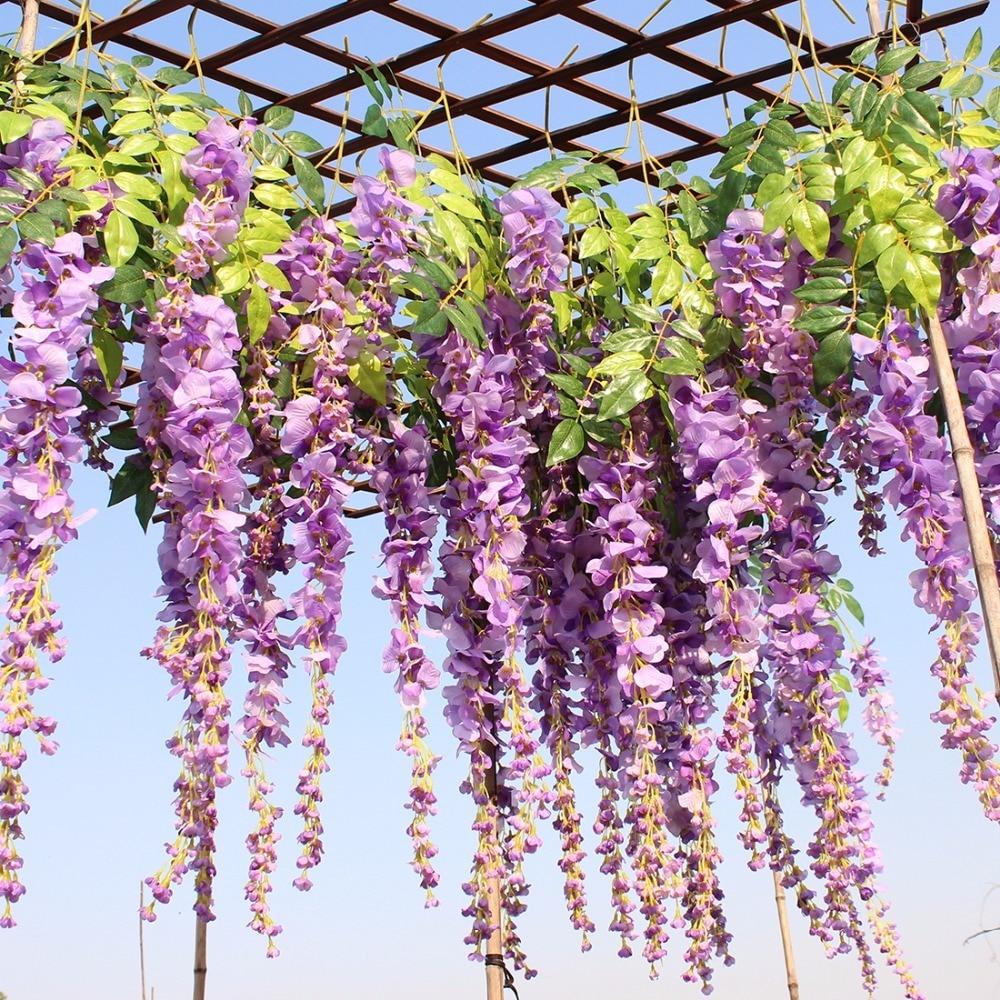 Luyue 12pcs / lot Esküvői dekoráció Mesterséges selyem Wisteria Virág Vines lóg Rattan menyasszonyi virágok Garland Home Garden Hotel