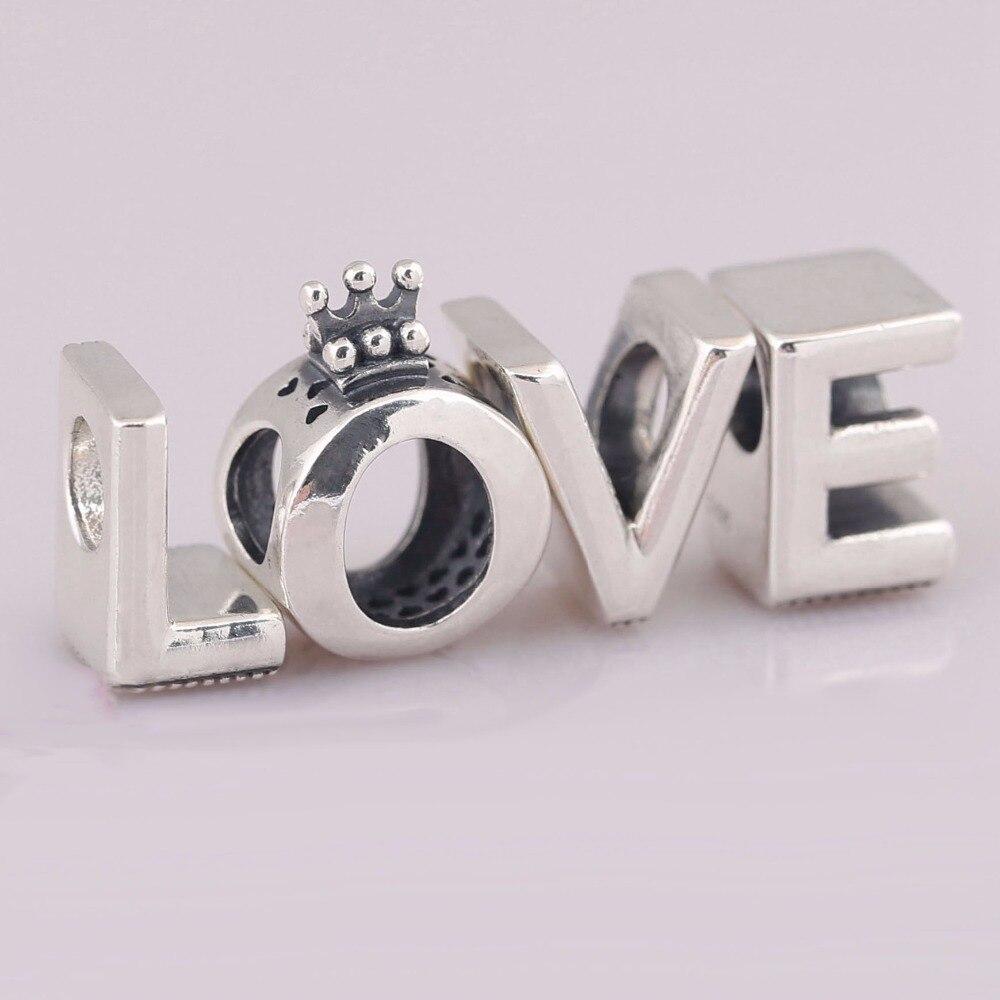 Convient aux Bracelets Pandora amour charmes Original authentique 925 argent Sterling couronne perles bricolage artisanat fabrication de bijoux