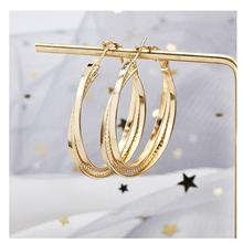 New gold alloy hoop earrings for women  fashion European and American geometric versatile lady A15