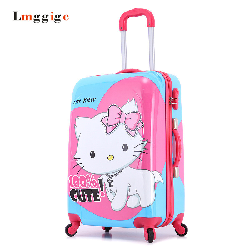 2024inch HELLO KITTY trolley Luggage,Female Child KT Suitcase,Nniversal wheels Kit  travel bag,Password box colour picture bag