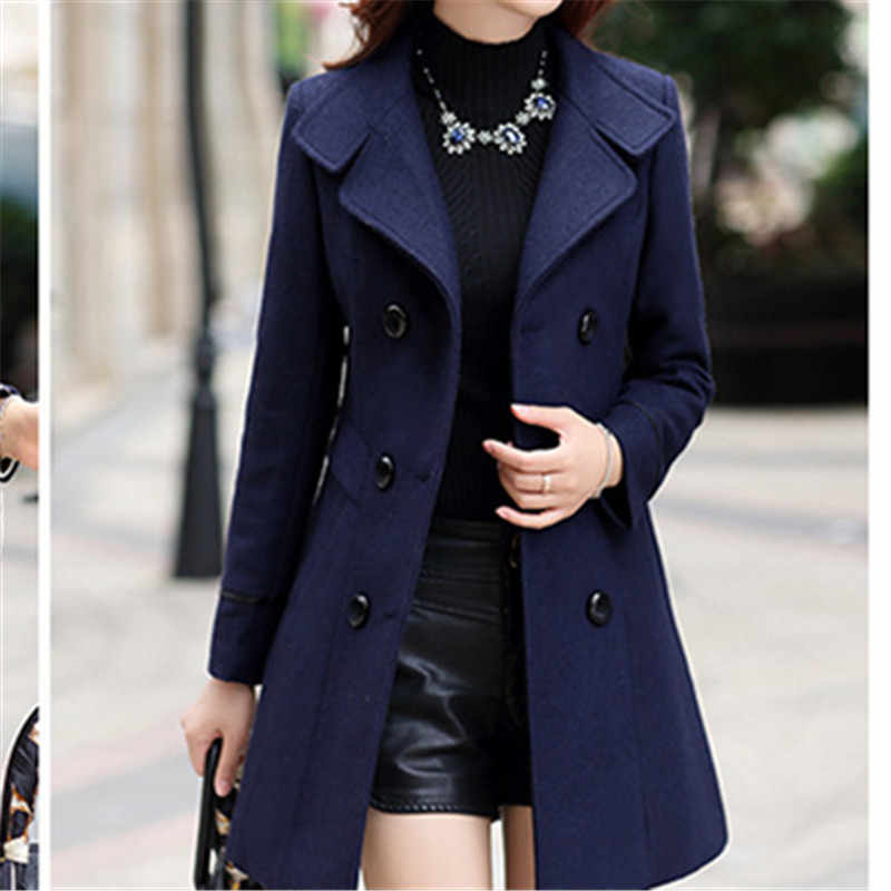 New 2018 Clothing Fashion Bodycon Casual Korean Overcoat Windbreaker Elegant Women Toyouth Long Wool  Coat