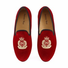 цена New Handmade Men Red Velvet Loafers With Crown Casual Dress Shoes Smoking Slippers Men's Flats Wedding Shoes Plus Size US 7-13 онлайн в 2017 году