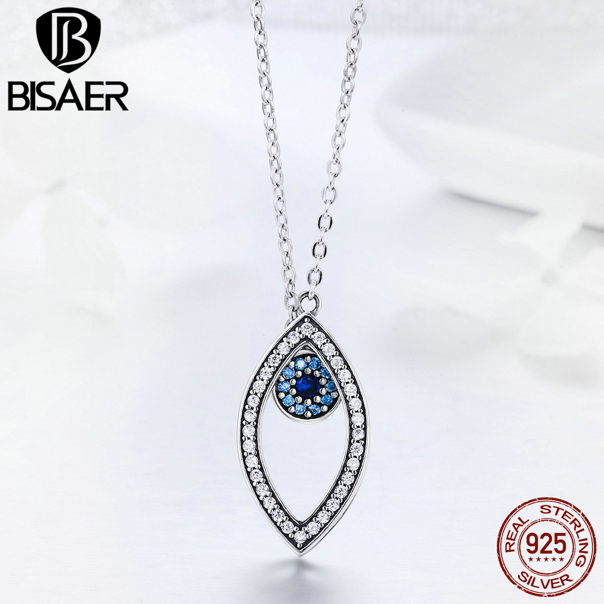 BISAER 100% 925 Sterling Silver Collar Lucky Blue Eye Guardian Eye Pendant Necklaces Women Sterling Silver Jewelry S925 ECN236