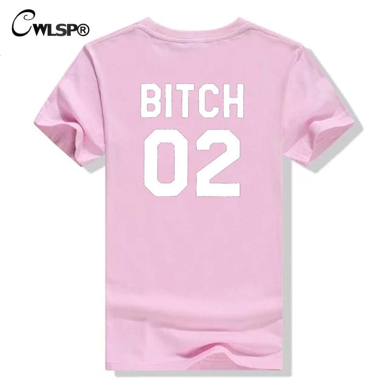 CWLSP 2018 Best Amici T-Shirt Per Le Donne CAGNA 01 02 Divertente Lettera Stampa Magliette e camicette Camicia Femminile T-Shirt Casual S-2XL di Goccia la nave QA1949