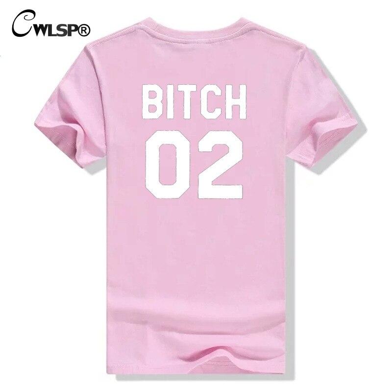 CWLSP 2018 Best Friends T-shirt For Women BITCH 01 02 Funny Letter Print Tops Female T-shirt Casual Shirt S-2XL Drop Ship QA1949