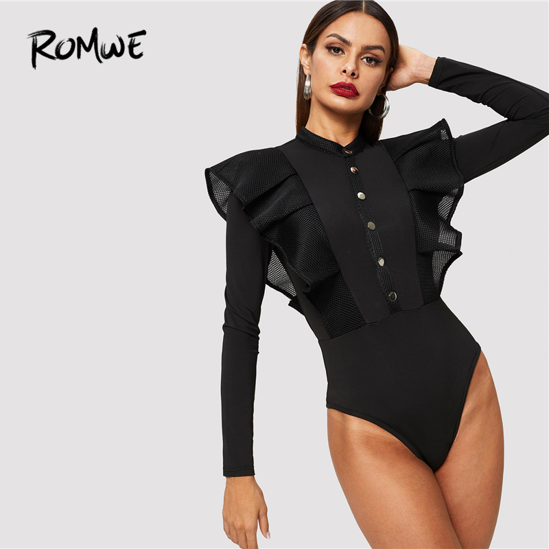 ROMWE Button Front Fishnet Mesh Trim Ruffle Black Bodysuit Fall 2019 Long Sleeve Bodysuit Autumn Stand Collar Mid Waist Bodysuit