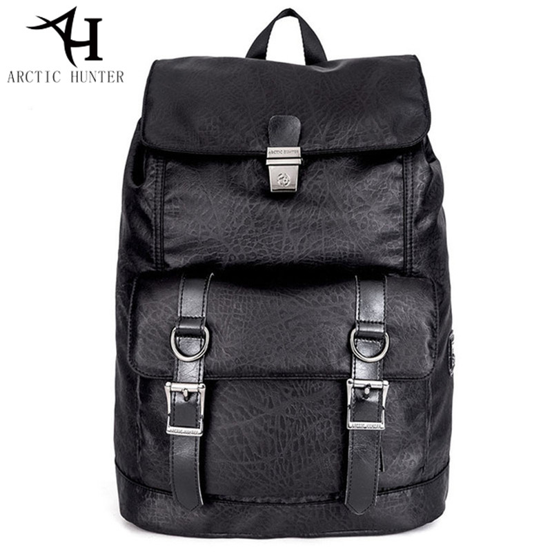 ARCTIC HUNTER Men's Backpack Black PU Leather buckle Travel Bag Vintage Street style casual bag 15.6 inch Laptop Backpacks Male