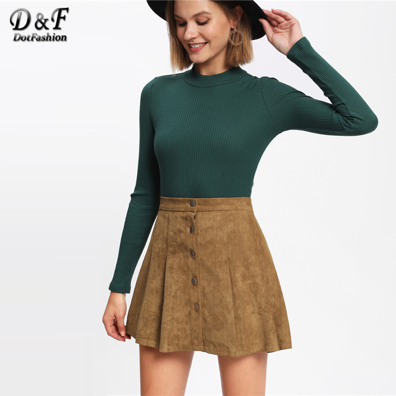 119bfc3115 Dotfashion Camel Single Breasted Suede Skirt Women Casual Autumn Plain  Above Knee Short Spring Preppy Mid Waist Shift Skirt-in Skirts from Women s  Clothing ...