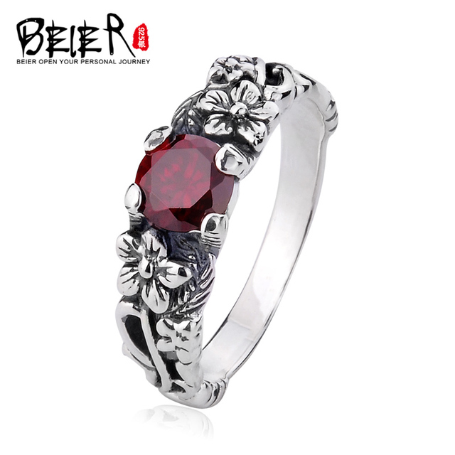 Beier 925 silver sterling jewelry 2015 red and black colour romantic top quality retro flower ring  gem  women ring  D0600