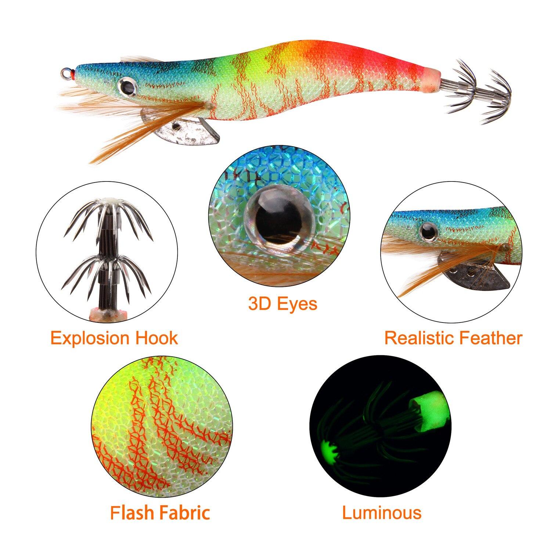 Details about  /1pc Fishing Shrimp Lure Luminous Squid Jig Lure Octopus With Squid Bait D9V1