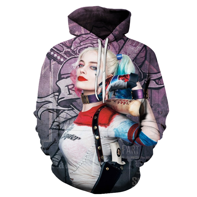 Hot Sale Suicide Squad Cosplay Hoodies Sweatshirts New Quinn Hoodies Novelty Funny 3D Hooded sweatshirts Set head jacket 2019