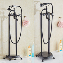 Bathtub Faucet Brass Bathtub Mixer Tap With Hand Shower Floor Standing Style Dual Handle Black Bathroom Bath Shower Faucet Set bathtub faucet wall mounted brass bathtub mixer tap bathroom bath shower faucets with hand shower new arrival black shower set