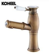 Малый арт кран Алмаз ручка керамические краски вытащить Бронзовый Смеситель для кухни смеситель с ванная Pull Down K-H03