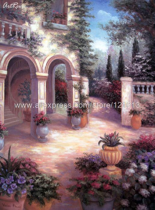 Vivian Flasch Tuscan Courtyard Offset Hand Painted Chinese Decorative Painting Us Acrylic Garden