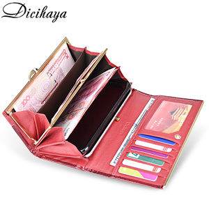 Image 4 - DICIHAYA Genuine Leather Women Wallets Multifunction Purse Red Card Holder Long Wallet Clutch Bag Ladies Patent Leather Purse