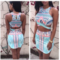 vestidos women clothing set sexy two piece bodycon crop top and skirt set retro religion totem crop tops suit clubwear