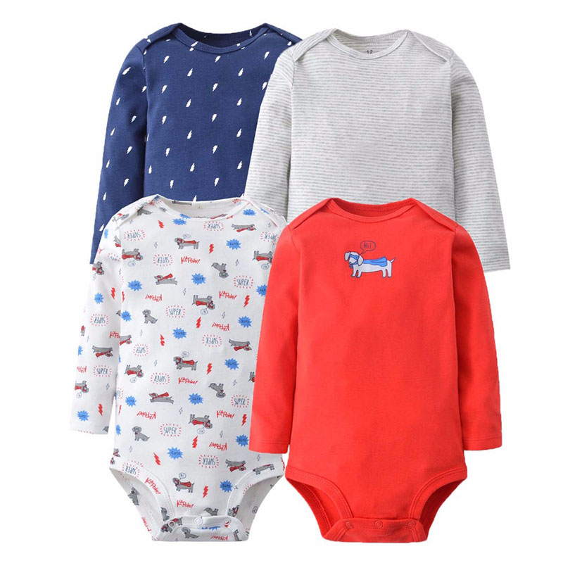 4Pcs Baby Rompers Cotton Baby Boy Clothing Spring Baby Girl Clothes Newborn Baby Clothes Roupas Bebe Infant Jumpsuit Random