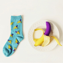 2016 Caramella Banana Cotton Women/men Kawaii Fruit Crew Socks Cute Harajuku Street Tide Casual Funny  Japanese Korean Novelty