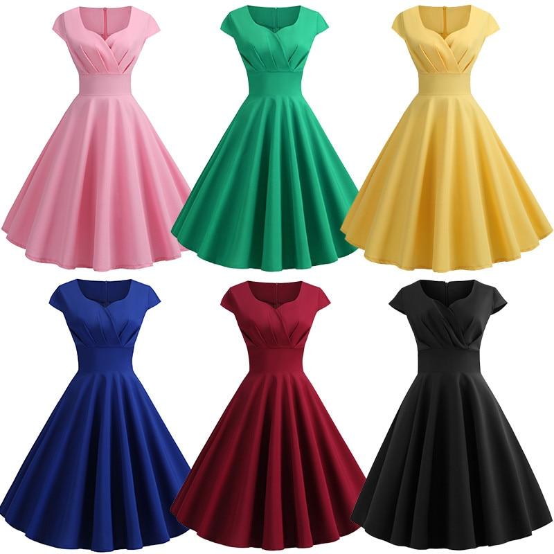 2020 nowych kobiet letnia sukienka Hepburn 50s 60s suknia retro typu swing sukienka vintage-line Party eleganckie czerwone czarne sukienki w stylu hepburn