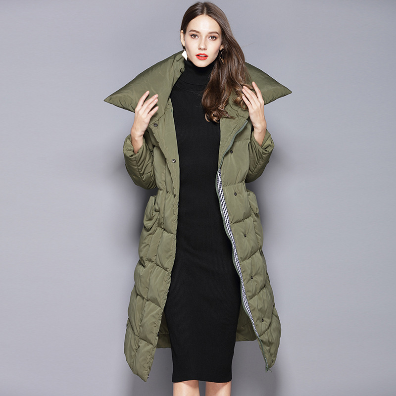 2018 Winter thick warm down jacket female long section of knee length white duck down coat W79002 in Down Coats from Women 39 s Clothing