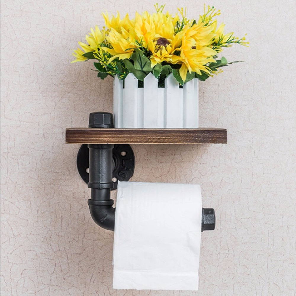 Wood Wall Hanging Shelf Multifunctional Metal Towel Racks 1405063001_1