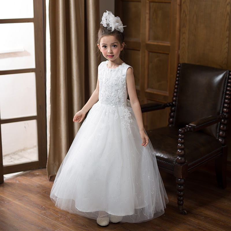 Formal Princess Long Girls Dress for Wedding White Fancy Flower Girl Vestido 2017 Gilrs Clothes 3 4 6 8 10 12 14 Years RKF174016 high grade princess wedding dress europe and america flower girl dress for girls white for 0 12 yesrs