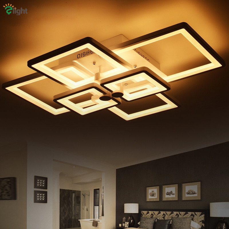 Minimalism Rectangles Lustre Dimmable Led Ceiling Chandelier Living Room Luminaria Remote Control Led Chandelier Lighting Lamp Easy To Use Chandeliers Lights & Lighting