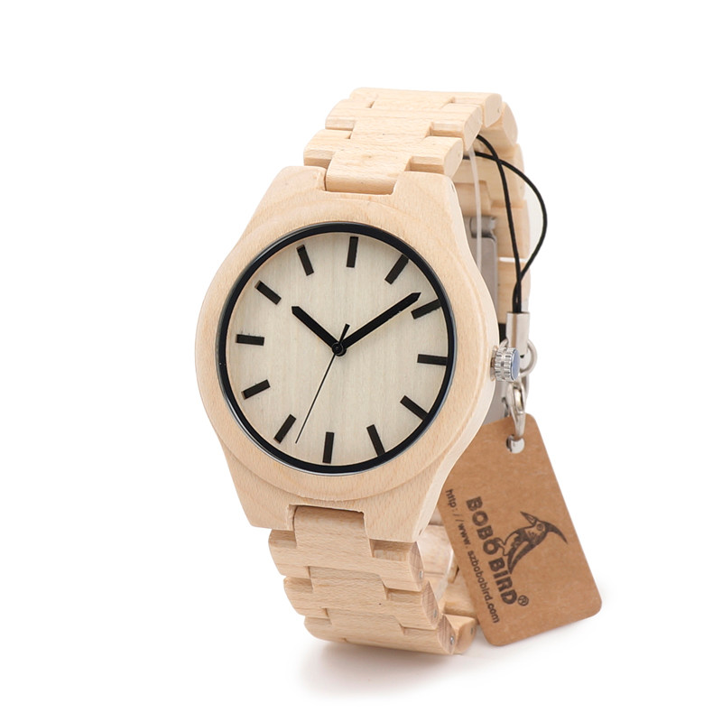 2017 BOBO BIRD Maple Wooden Strap Watches Men Brand Luxury Fashion Wood Quartz Watch Clock Relojes Mujer Montre C-G30 bobo bird wh05 brand design classic ebony wooden mens watch full wood strap quartz watches lightweight gift for men in wood box